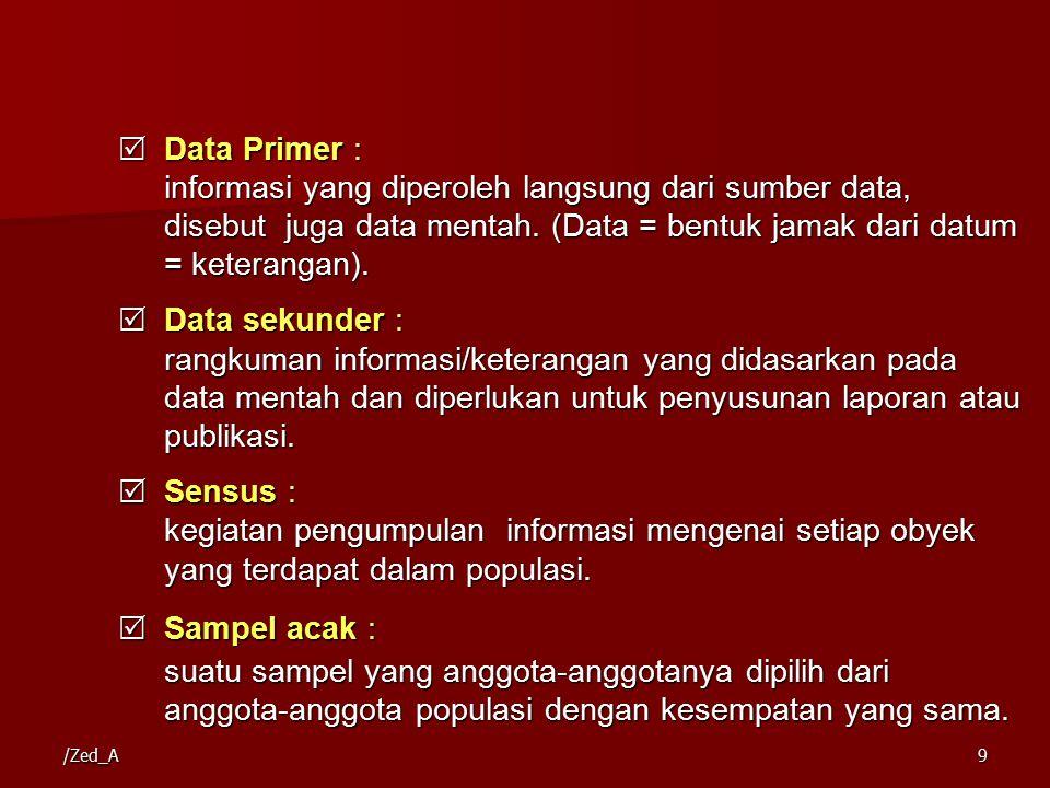 Data Primer : informasi yang diperoleh langsung dari sumber data, disebut juga data mentah. (Data = bentuk jamak dari datum = keterangan).