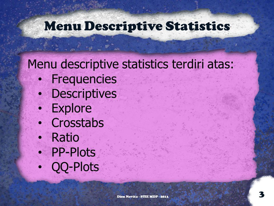 Menu Descriptive Statistics