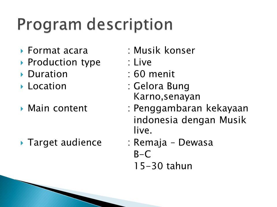 Program description Format acara : Musik konser Production type : Live