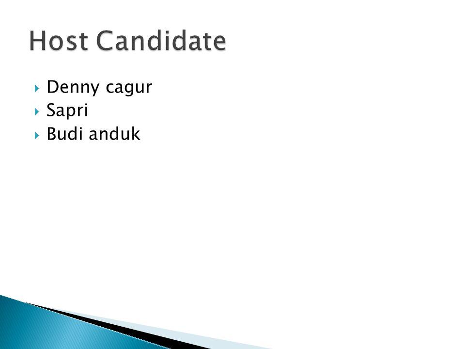 Host Candidate Denny cagur Sapri Budi anduk
