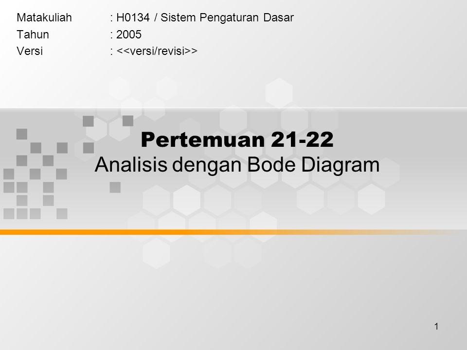 Pertemuan 21-22 Analisis dengan Bode Diagram