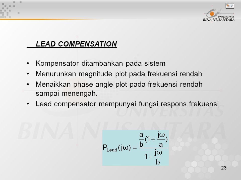 LEAD COMPENSATION Kompensator ditambahkan pada sistem. Menurunkan magnitude plot pada frekuensi rendah.