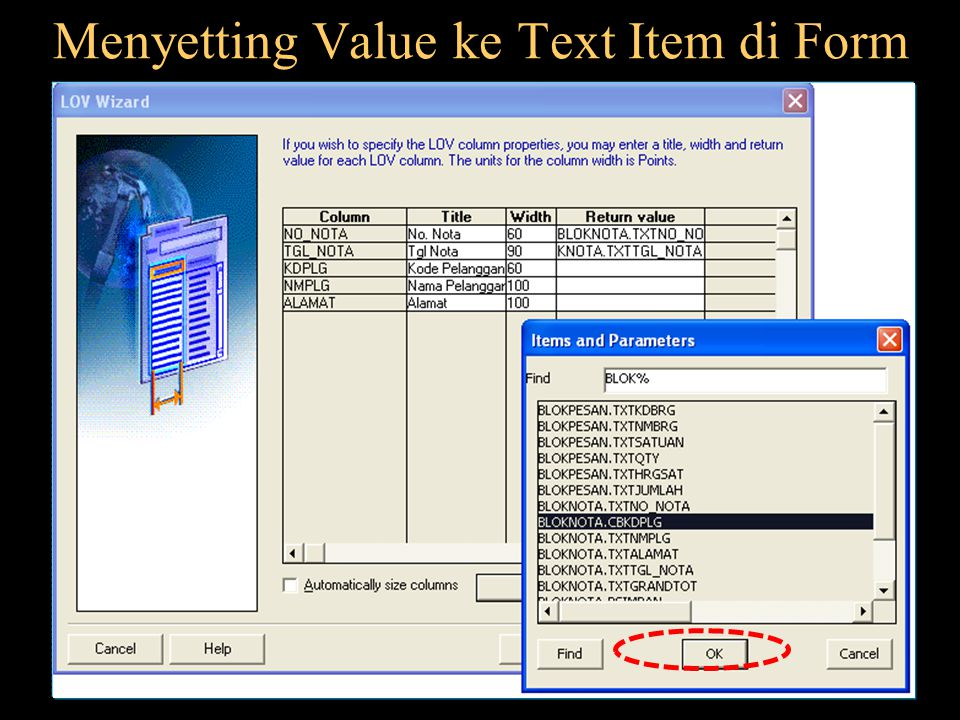 Menyetting Value ke Text Item di Form