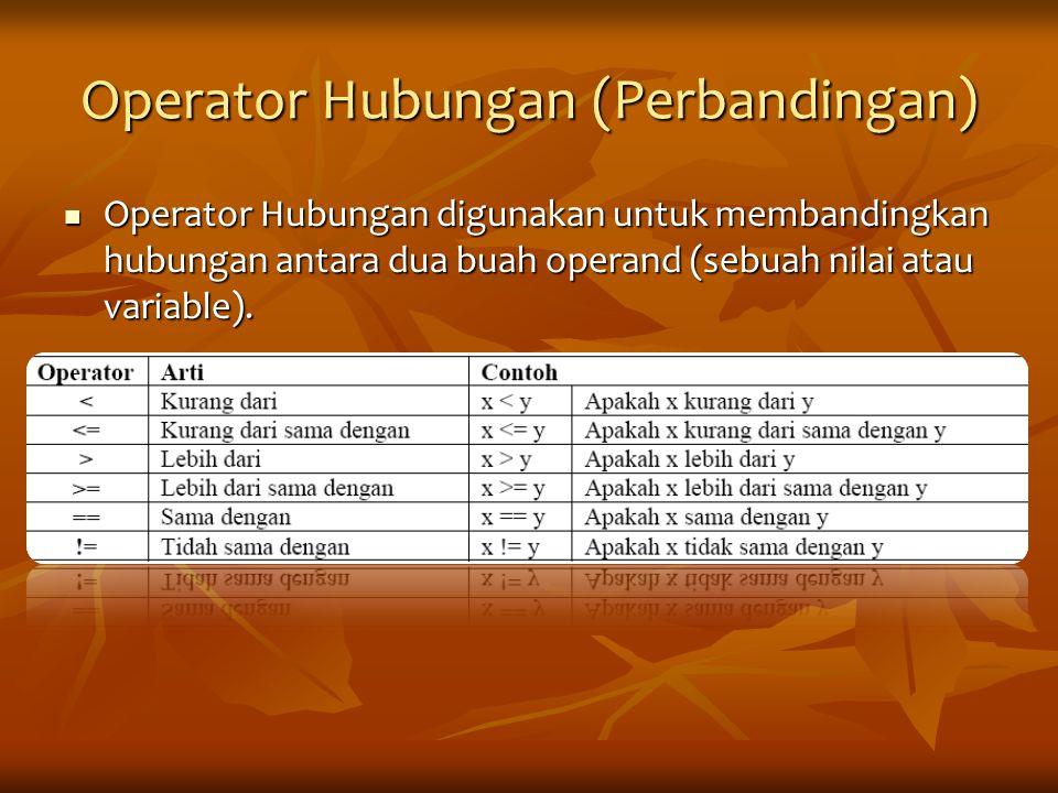 Operator Hubungan (Perbandingan)