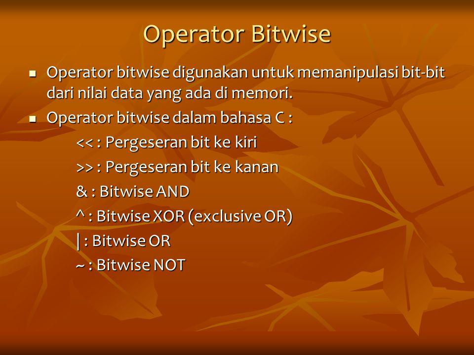 Operator Bitwise Operator bitwise digunakan untuk memanipulasi bit-bit dari nilai data yang ada di memori.