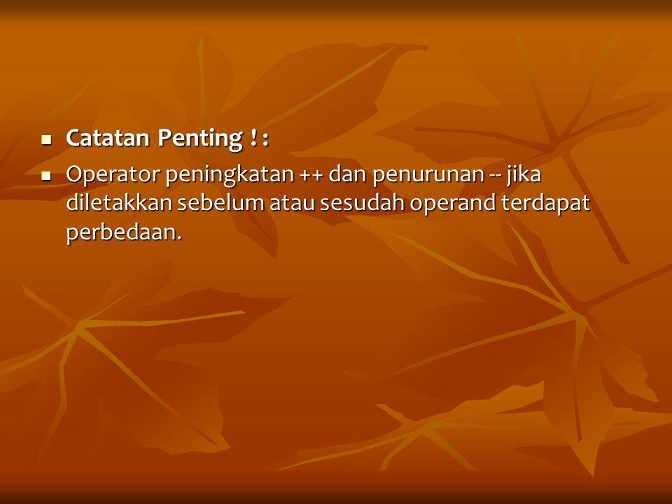 Catatan Penting .