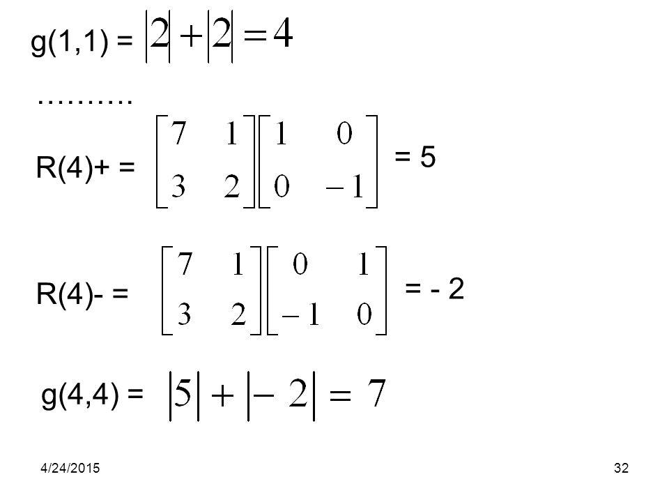 g(1,1) = ………. = 5 R(4)+ = = - 2 R(4)- = g(4,4) = 4/14/2017