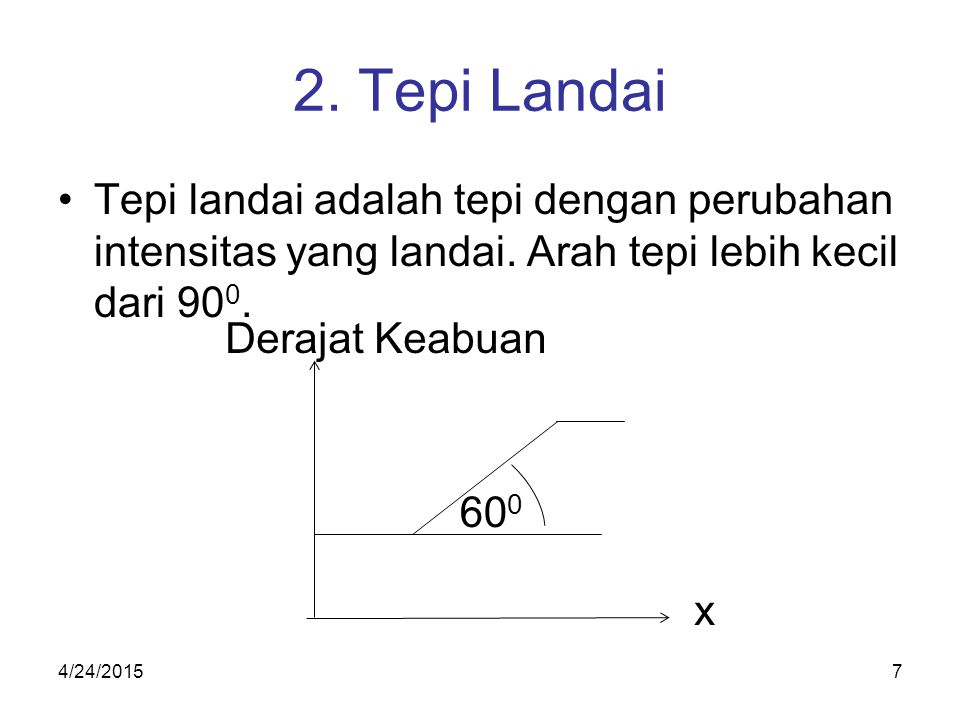 2. Tepi Landai Tepi landai adalah tepi dengan perubahan intensitas yang landai. Arah tepi lebih kecil dari 900.