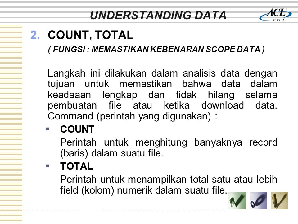 UNDERSTANDING DATA COUNT, TOTAL