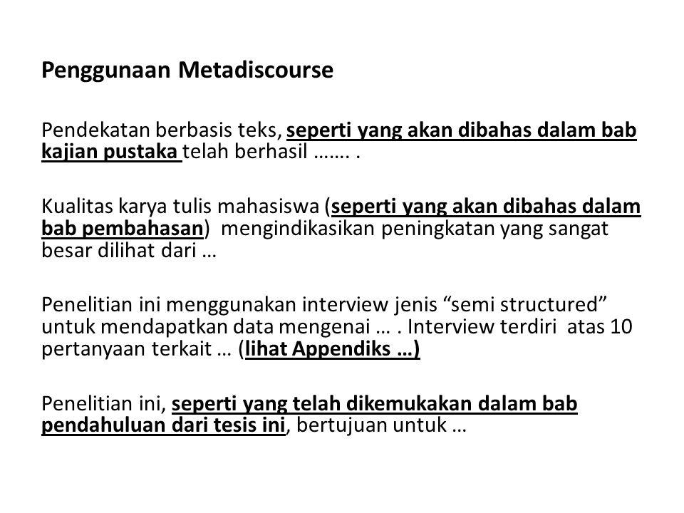 Penggunaan Metadiscourse