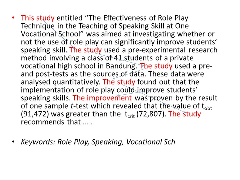 This study entitled The Effectiveness of Role Play Technique in the Teaching of Speaking Skill at One Vocational School was aimed at investigating whether or not the use of role play can significantly improve students' speaking skill. The study used a pre-experimental research method involving a class of 41 students of a private vocational high school in Bandung. The study used a pre- and post-tests as the sources of data. These data were analysed quantitatively. The study found out that the implementation of role play could improve students' speaking skills. The improvement was proven by the result of one sample t-test which revealed that the value of tobt (91,472) was greater than the tcrit (72,807). The study recommends that ... .