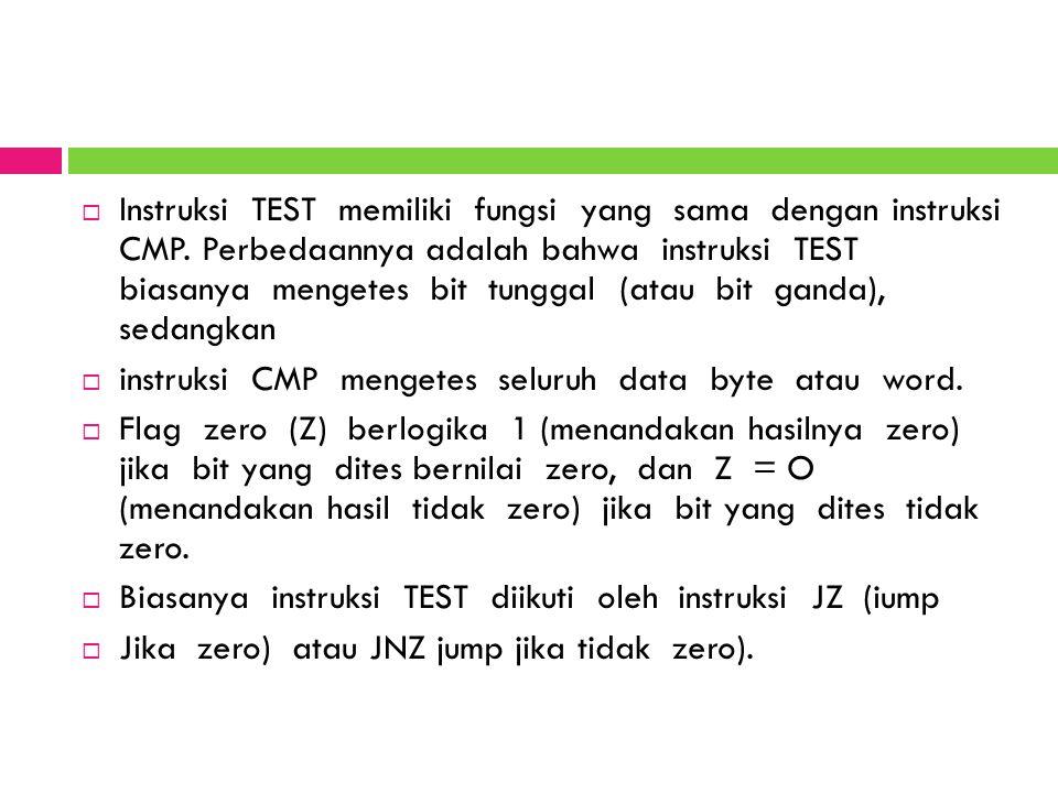 Instruksi TEST memiliki fungsi yang sama dengan instruksi CMP