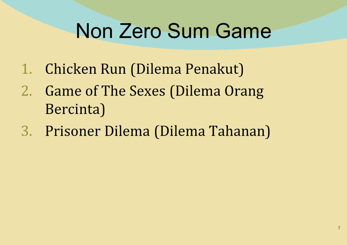 Non Zero Sum Game Chicken Run (Dilema Penakut)