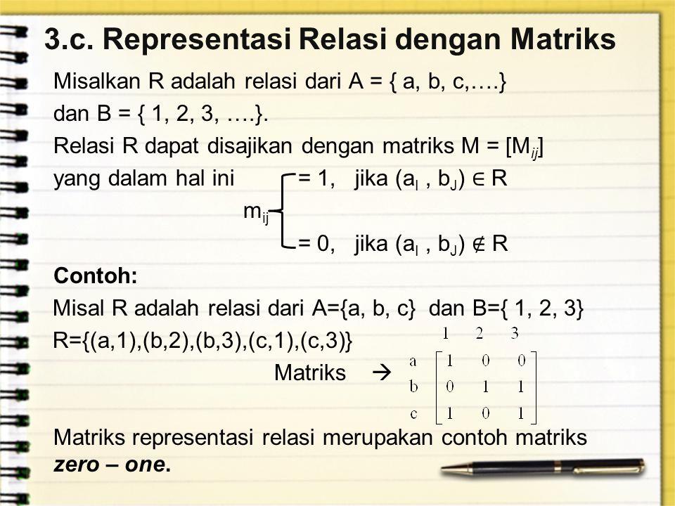 3.c. Representasi Relasi dengan Matriks