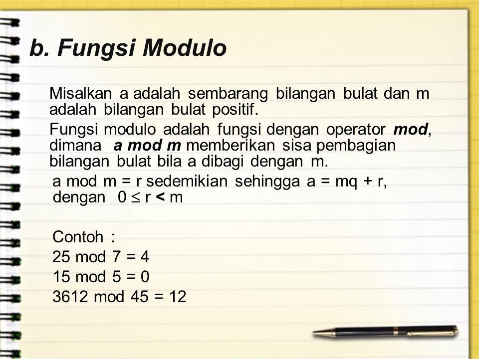 b. Fungsi Modulo