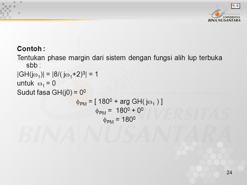 Contoh : Tentukan phase margin dari sistem dengan fungsi alih lup terbuka sbb : |GH(j1)| = |8/( j1+2)3| = 1.