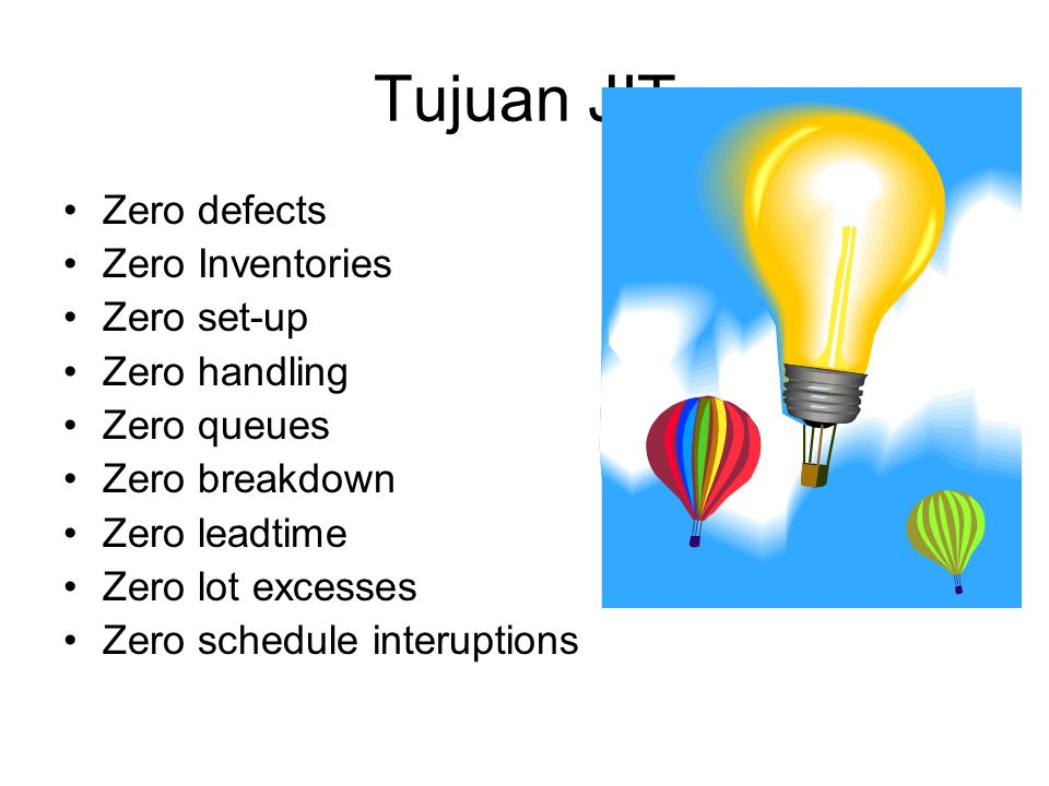 Tujuan JIT Zero defects Zero Inventories Zero set-up Zero handling