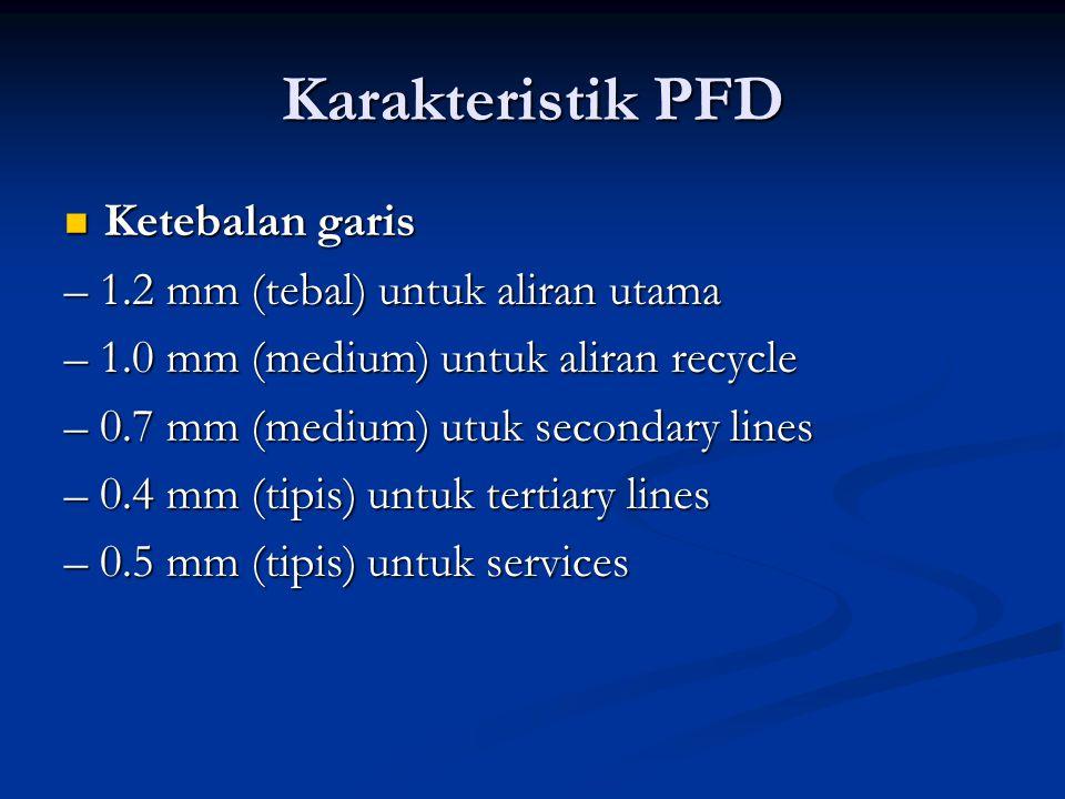 Karakteristik PFD Ketebalan garis – 1.2 mm (tebal) untuk aliran utama
