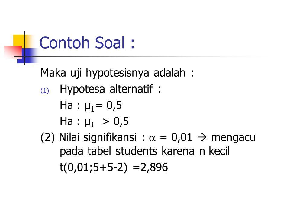 Contoh Soal : Maka uji hypotesisnya adalah : Hypotesa alternatif :