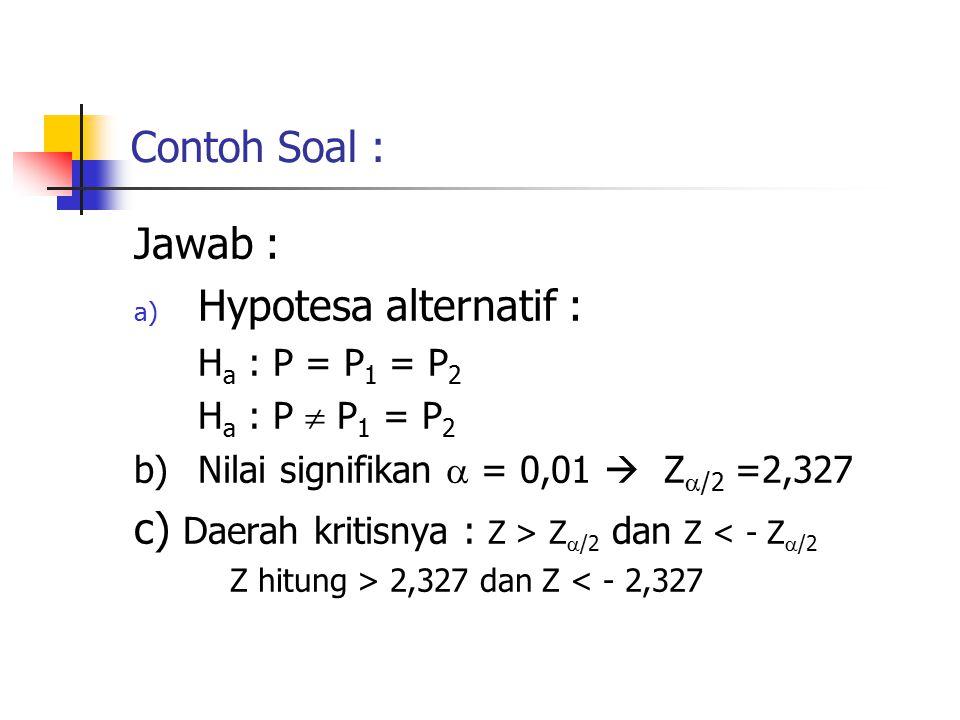 c) Daerah kritisnya : Z > Z/2 dan Z < - Z/2