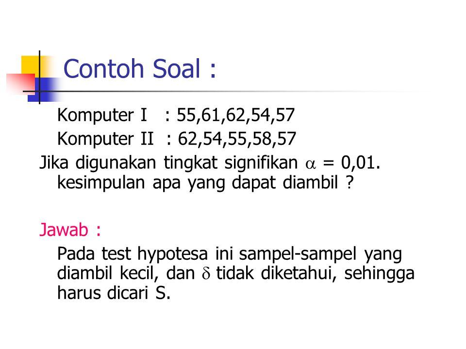 Contoh Soal : Komputer I : 55,61,62,54,57 Komputer II : 62,54,55,58,57