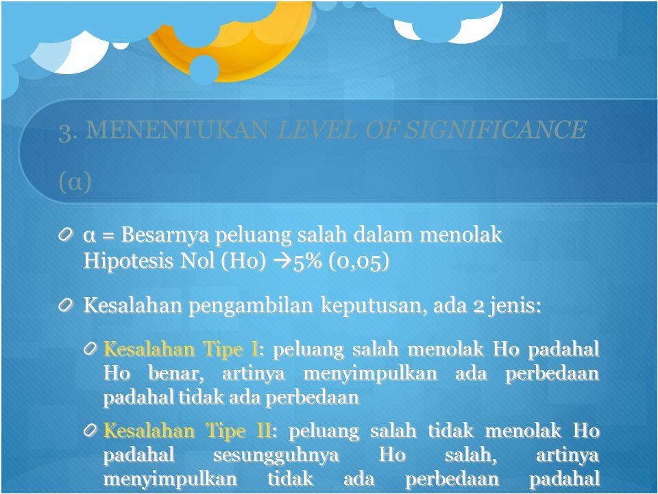 3. MENENTUKAN LEVEL OF SIGNIFICANCE (α)