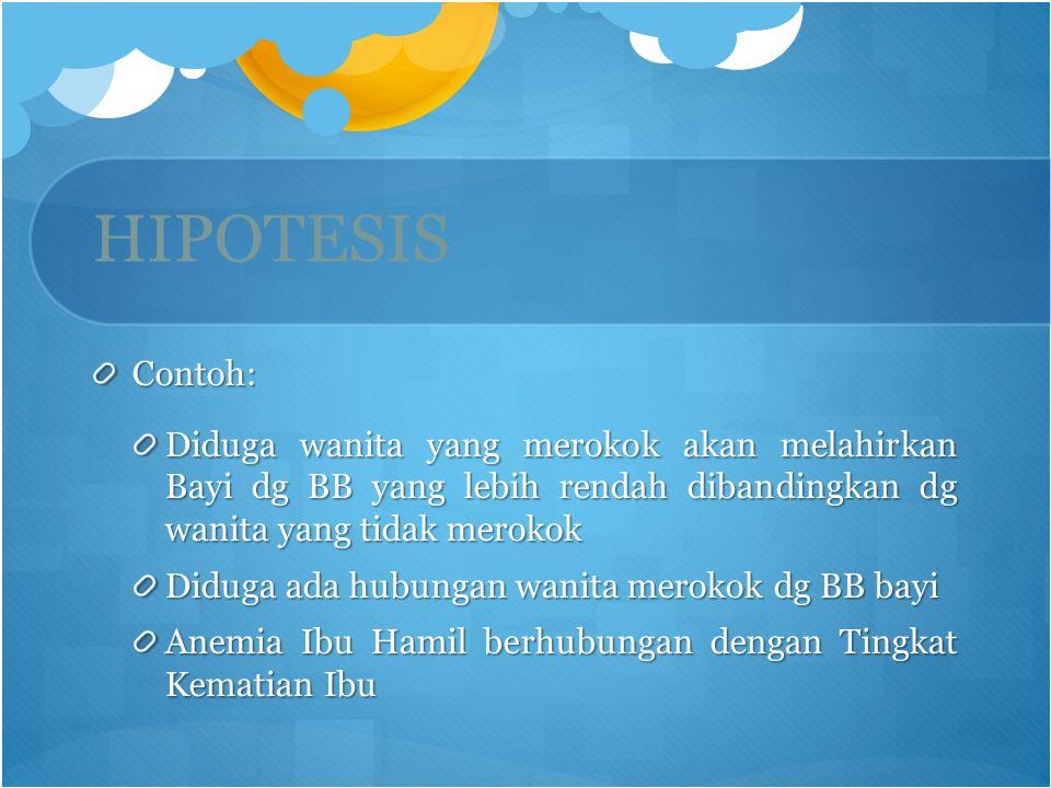 HIPOTESIS Contoh: Diduga wanita yang merokok akan melahirkan Bayi dg BB yang lebih rendah dibandingkan dg wanita yang tidak merokok.