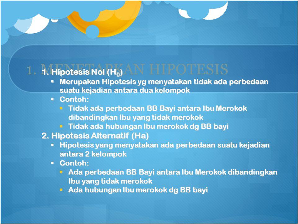 1. MENETAPKAN HIPOTESIS 1. Hipotesis Nol (H0)