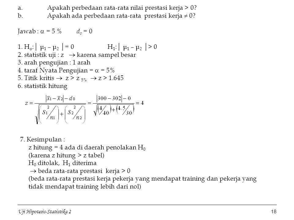 z hitung = 4 ada di daerah penolakan H0 (karena z hitung > z tabel)