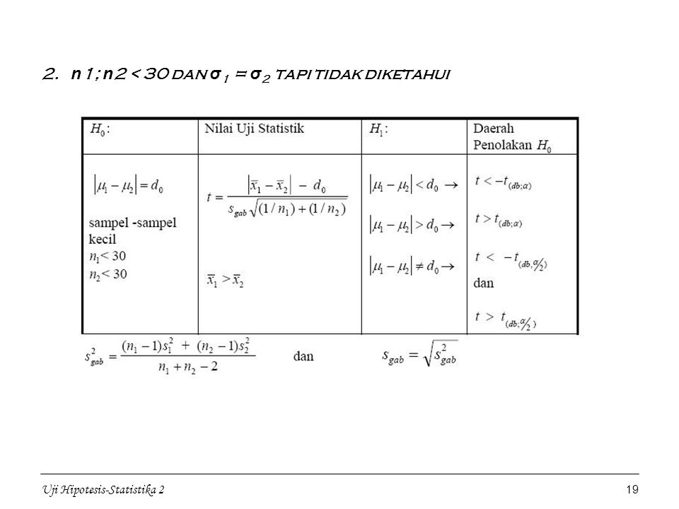 2. n1; n2 < 30 dan σ1 = σ2 tapi tidak diketahui