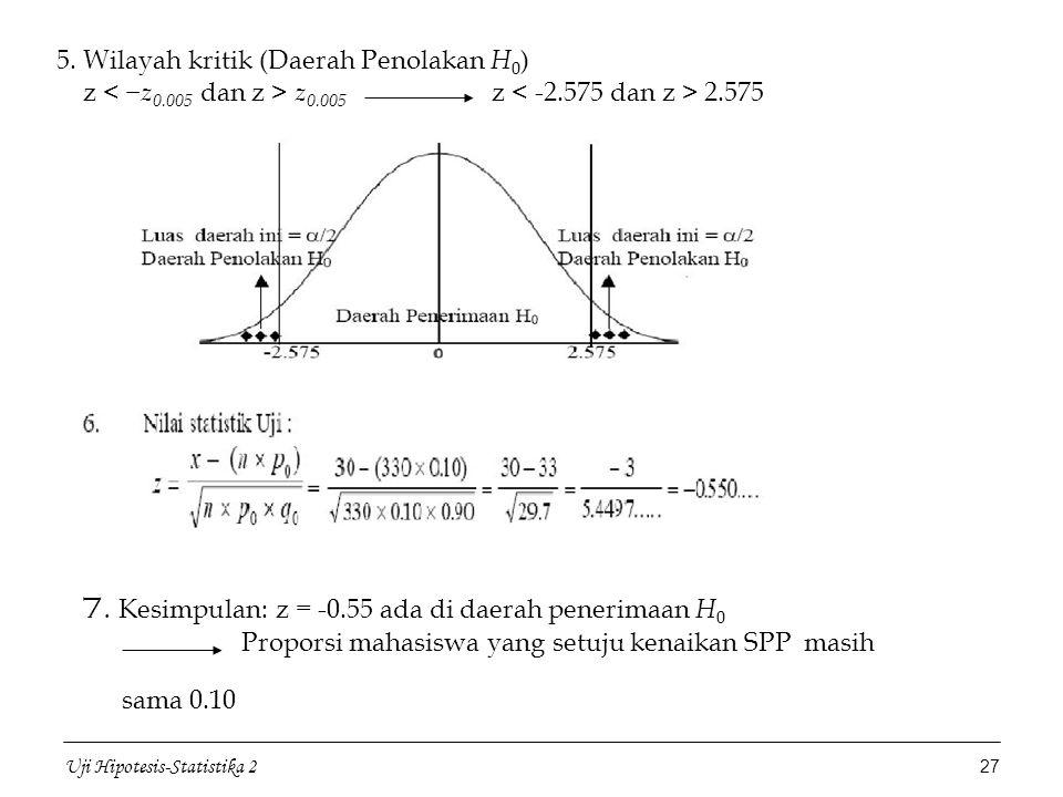 7. Kesimpulan: z = -0.55 ada di daerah penerimaan H0