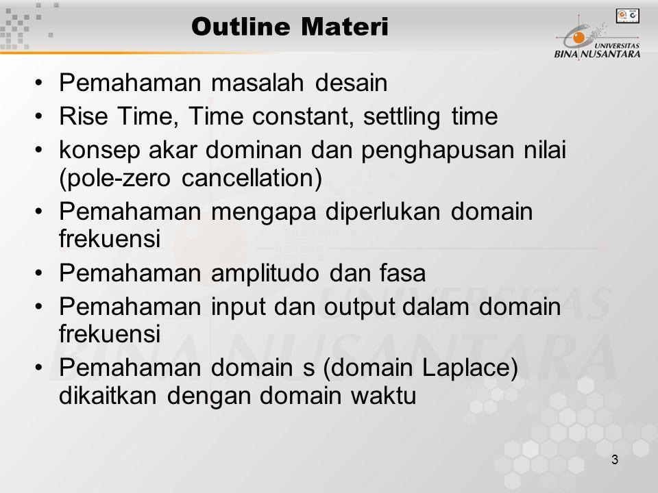 Outline Materi Pemahaman masalah desain. Rise Time, Time constant, settling time.