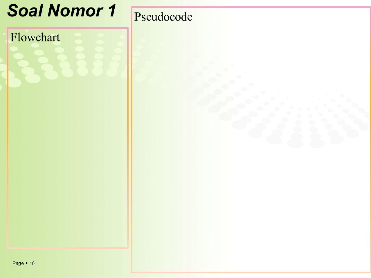 Soal Nomor 1 Pseudocode Flowchart
