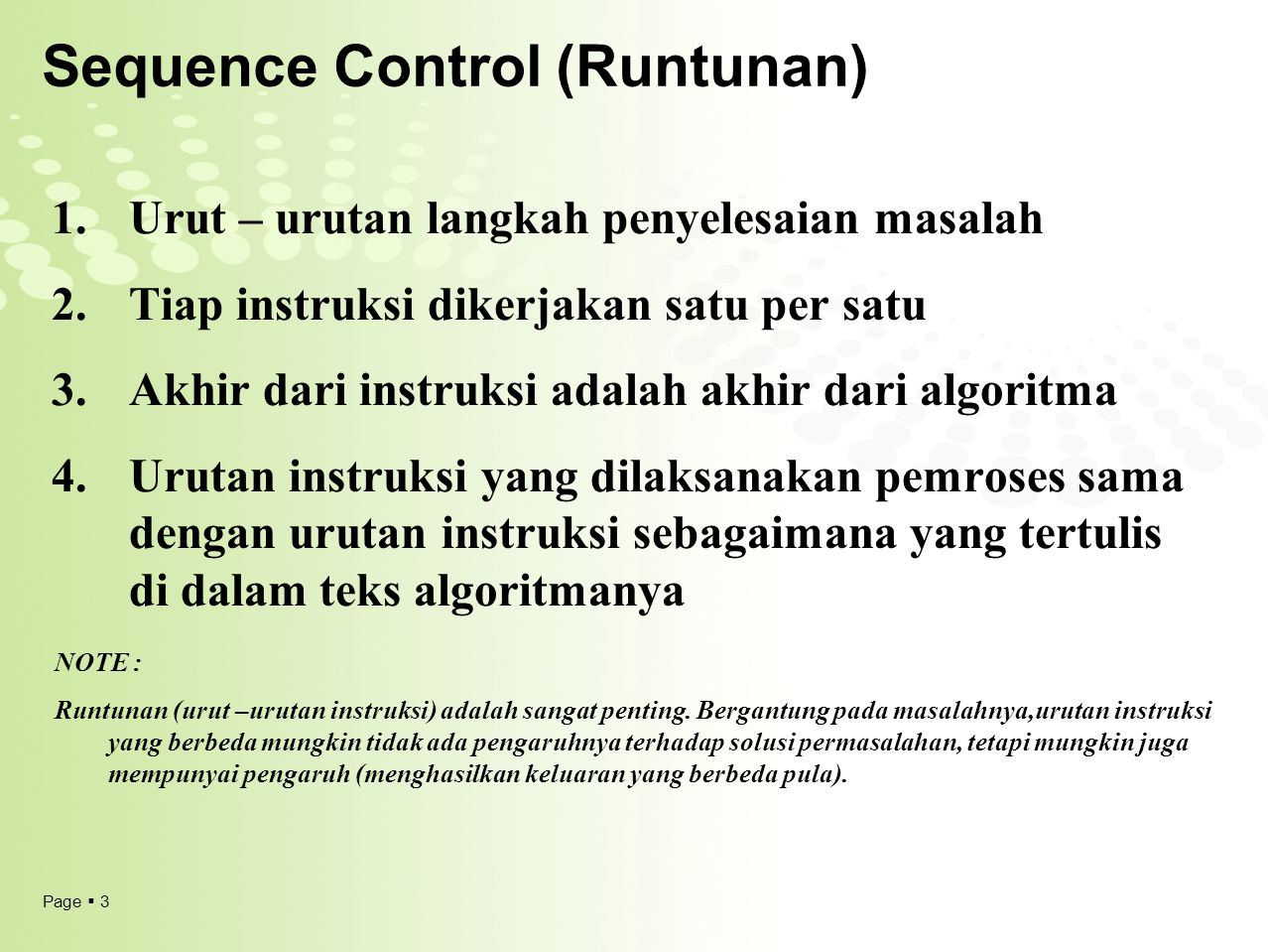 Sequence Control (Runtunan)