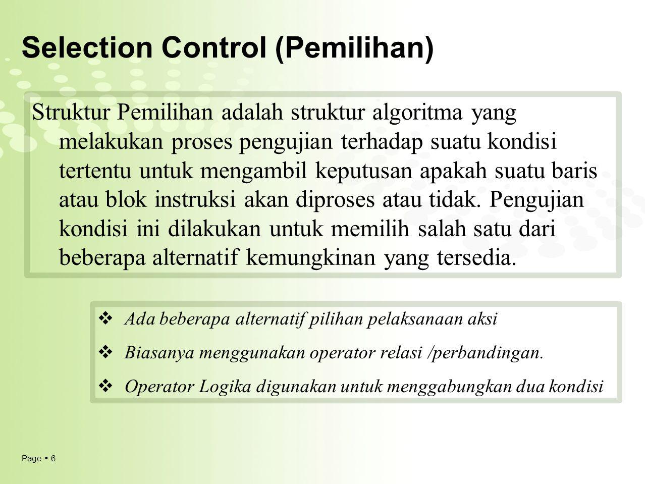Selection Control (Pemilihan)