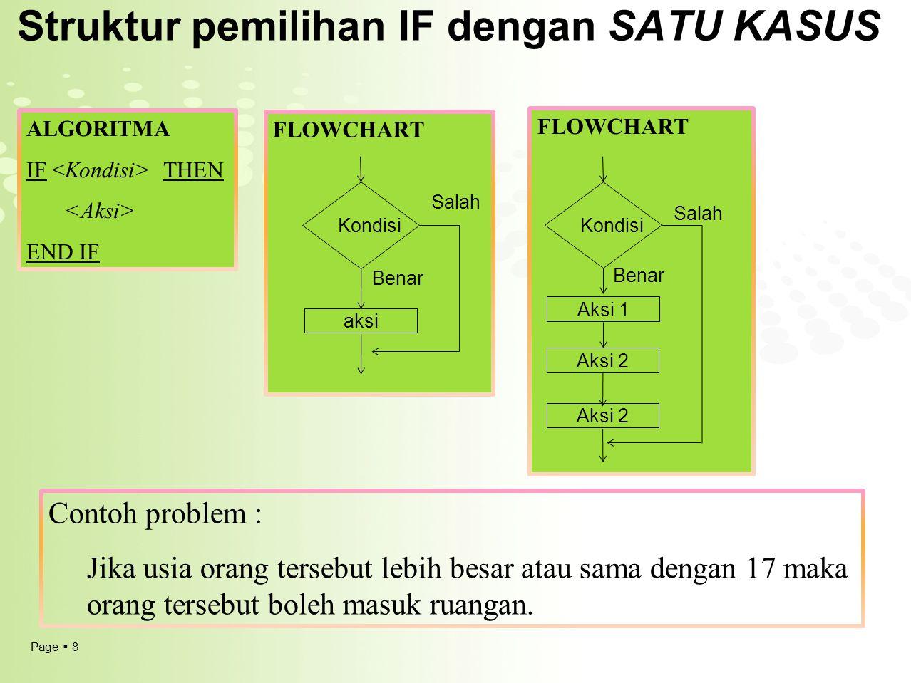 Struktur pemilihan IF dengan SATU KASUS