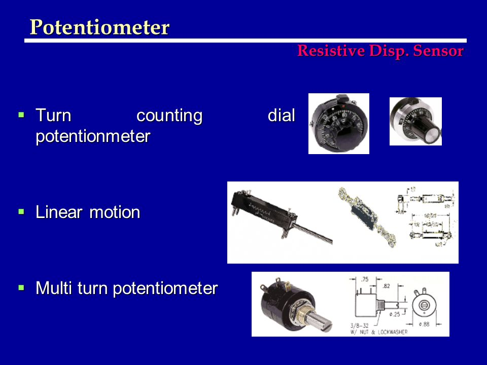 Potentiometer Turn counting dial potentionmeter Linear motion