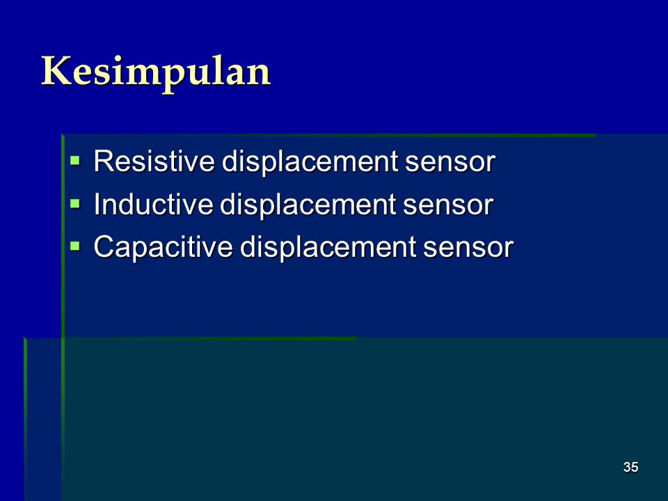Kesimpulan Resistive displacement sensor Inductive displacement sensor