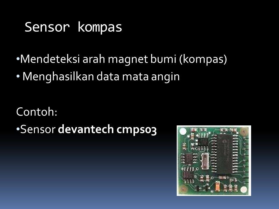 Sensor kompas Mendeteksi arah magnet bumi (kompas)