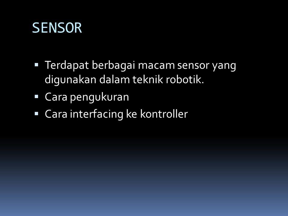SENSOR Terdapat berbagai macam sensor yang digunakan dalam teknik robotik.
