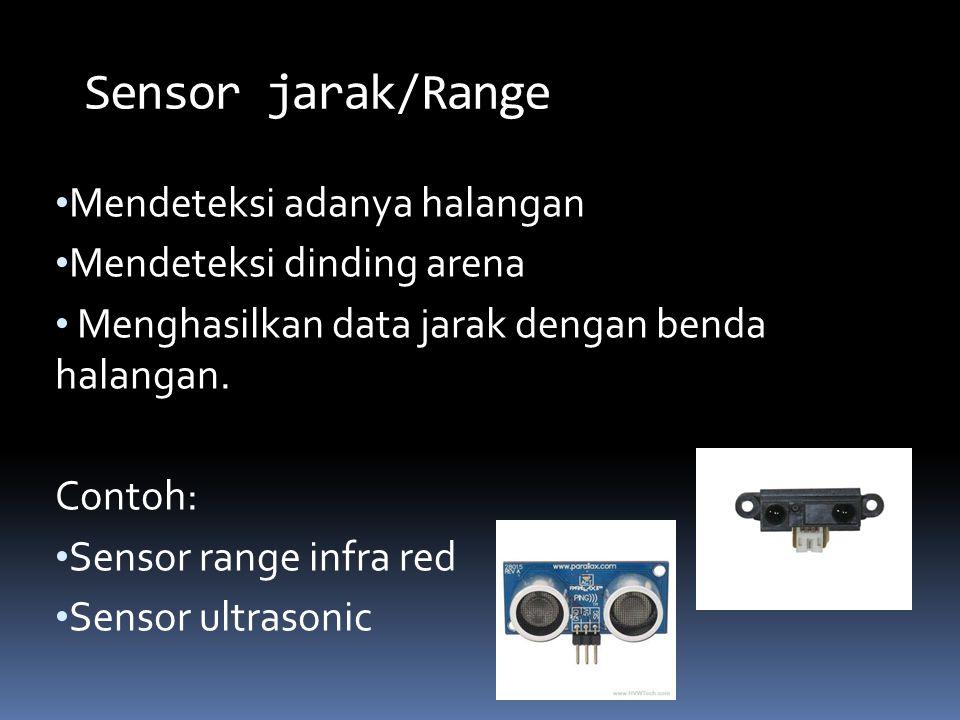 Sensor jarak/Range Mendeteksi adanya halangan Mendeteksi dinding arena