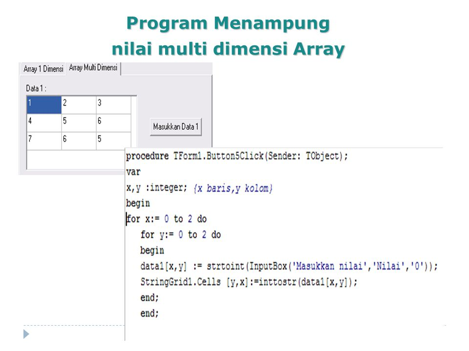 nilai multi dimensi Array