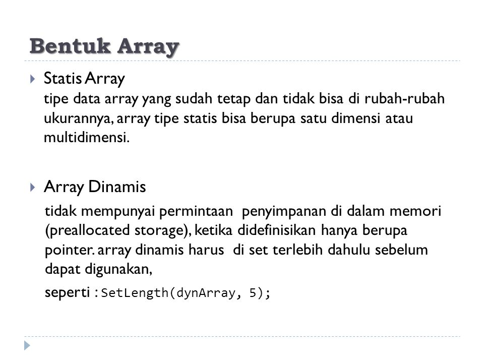 Bentuk Array
