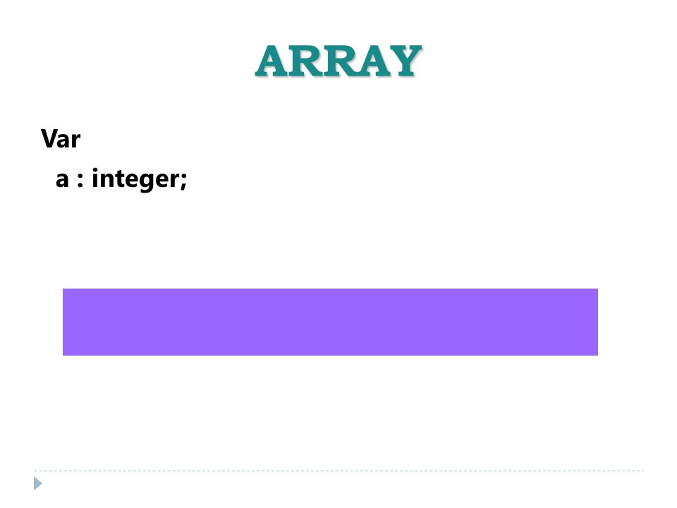 ARRAY Var a : integer; -32.768 a 32.767