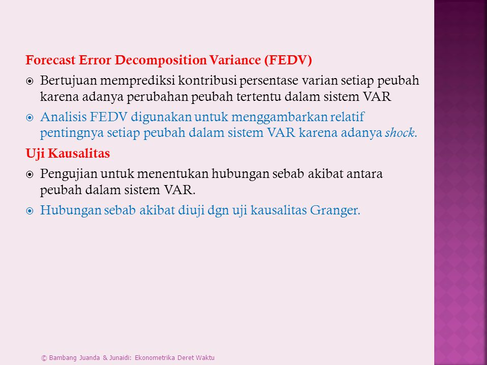 Forecast Error Decomposition Variance (FEDV)