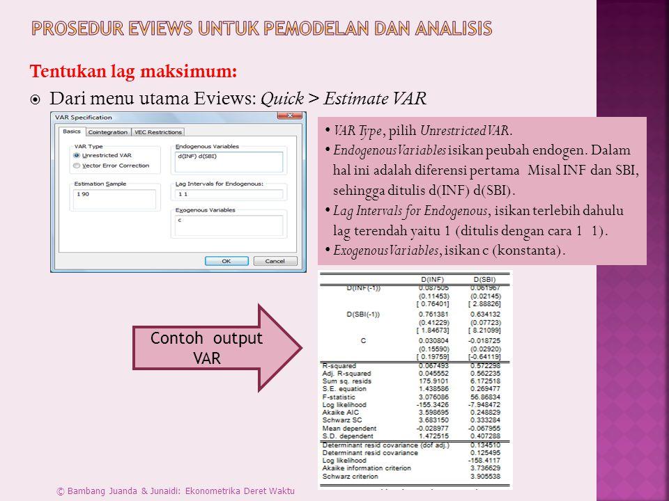 Prosedur Eviews untuk Pemodelan dan Analisis