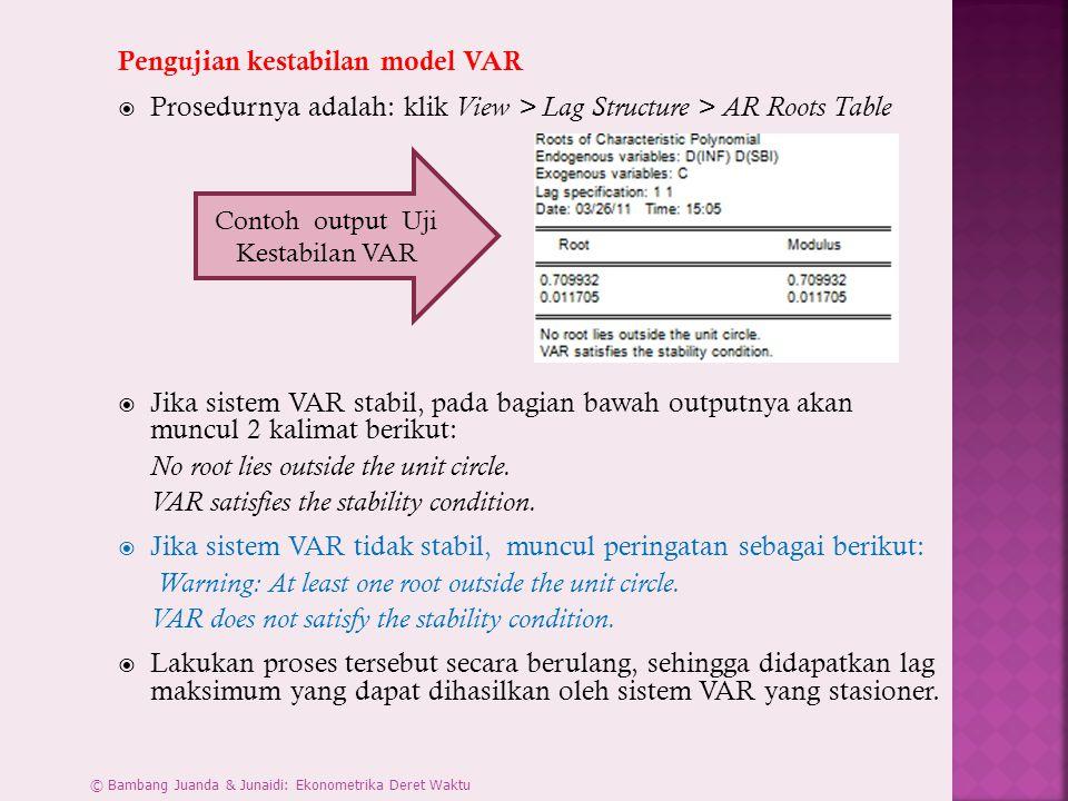 Contoh output Uji Kestabilan VAR