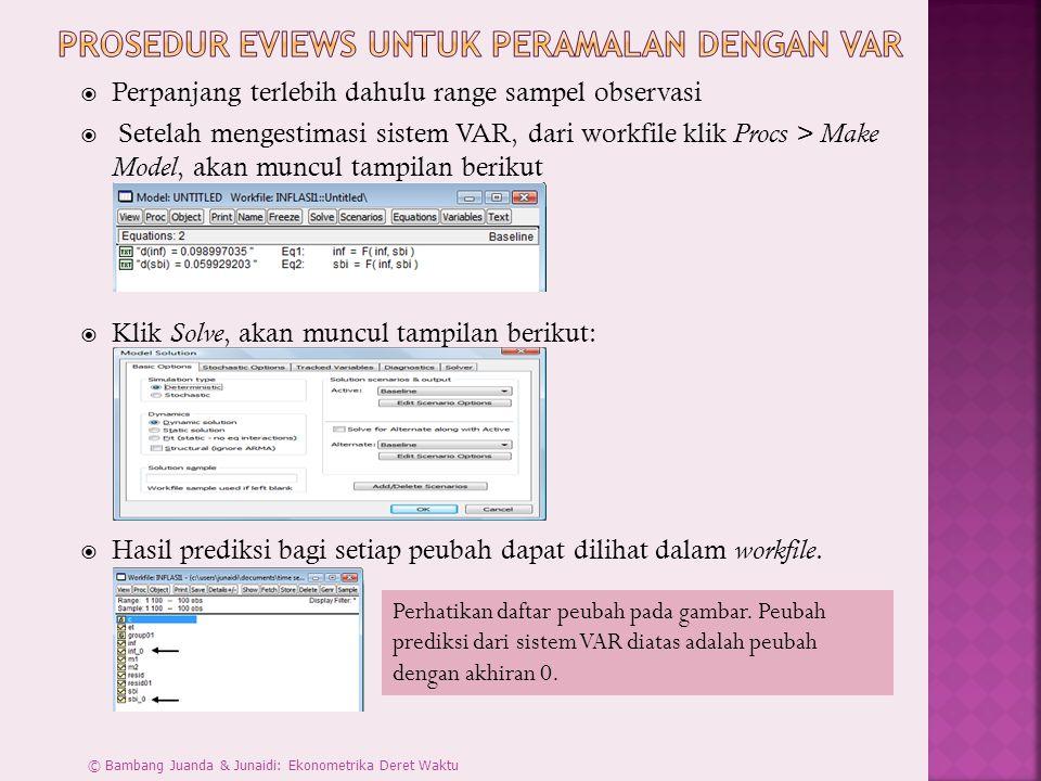 Prosedur Eviews untuk Peramalan dengan VAR