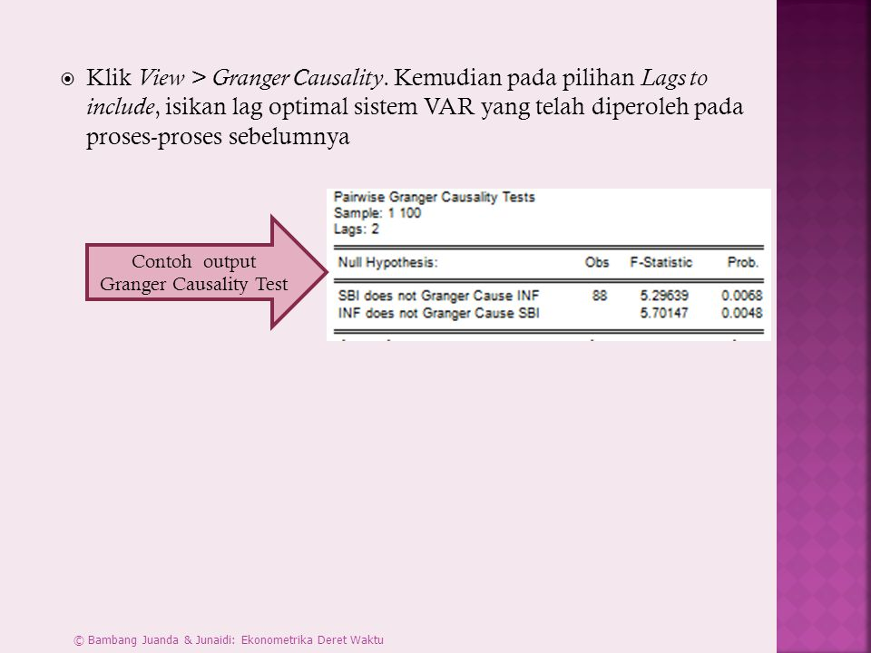 Contoh output Granger Causality Test