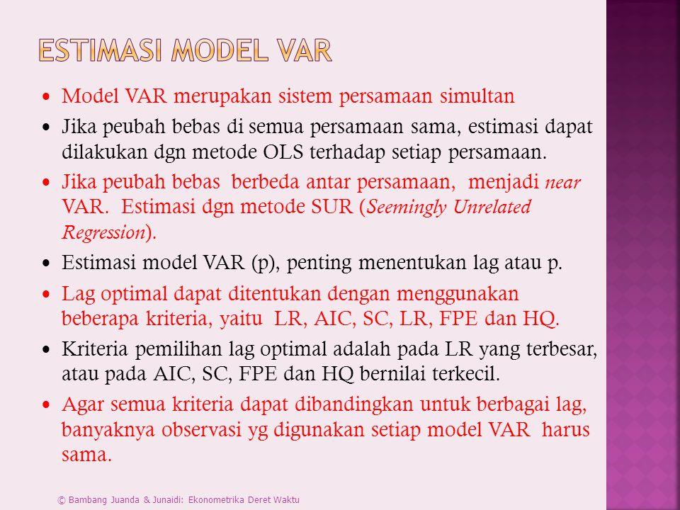 Estimasi Model VAR Model VAR merupakan sistem persamaan simultan